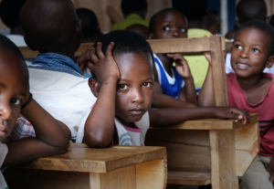 A classroom in Africa with no teaching material or supplies.