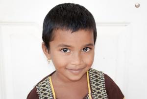An orphan girl in India.